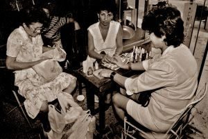 LADIES GETTING THEIR NAILS DONE